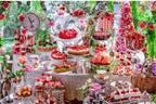 """ヒルトン東京「不思議の国のアリス」着想の苺スイーツブッフェ、ハートの女王の""""立ち襟""""ケーキなど"""