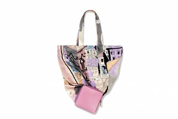 エミリオ・プッチ、フィレンツェの風景プリントのシューズ&ミニウォレット風に畳めるエコバッグ