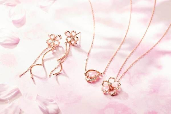 """Canal 4℃""""八分咲き桜""""煌めくネックレスや""""ふっくら花びら""""モチーフのピアス"""