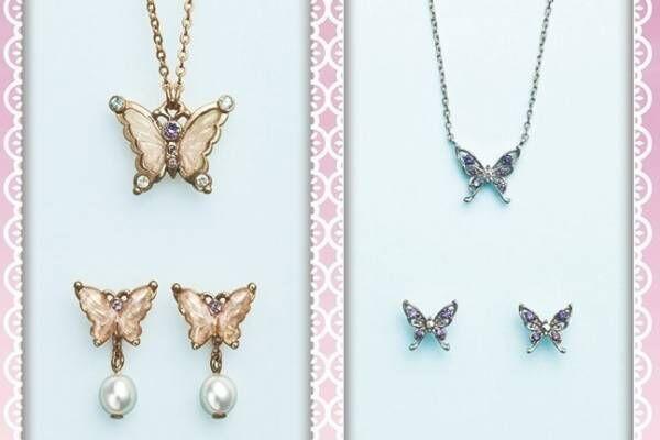 アナ スイ春色「蝶モチーフ」アクセサリー、ネックレス&2Wayパールイヤリング(ピアス)がセットに