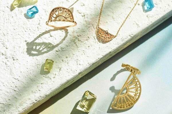"""スタージュエリー ガール""""朝の光""""着想の透かし模様ジュエリー、ダイヤモンド輝くピアス&ネックレス"""