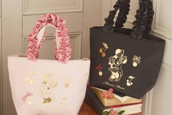 """メゾン ド フルール""""ミニー マウス""""のフリルバッグやポーチ、チェリー&リボンを飾って"""
