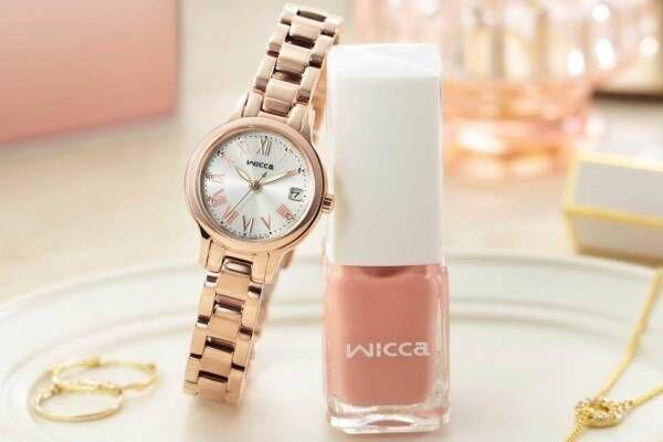 ウィッカ「ネイル」モチーフのグラデカラー腕時計、ピンク色ネイルポリッシュ付き