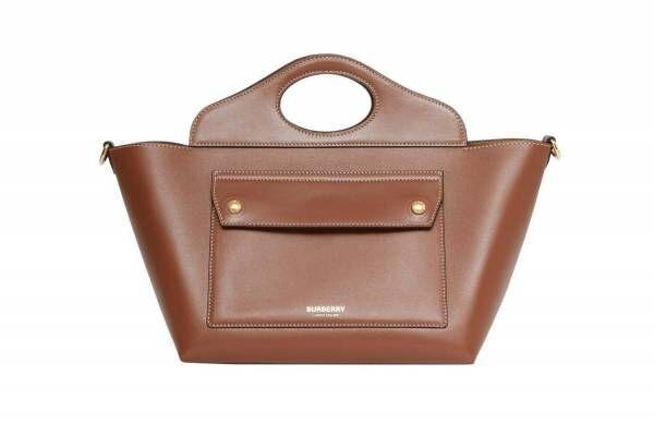バーバリーの新作「ソフトポケットトート」柔らかなカーフの台形バッグ、アーチ状の「オリンピアバッグ」も
