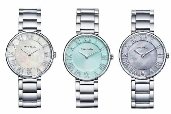 """「ティファニー アトラス」""""天然の虹色""""マザー オブ パールの新腕時計、ティファニー ブルーモデルも"""