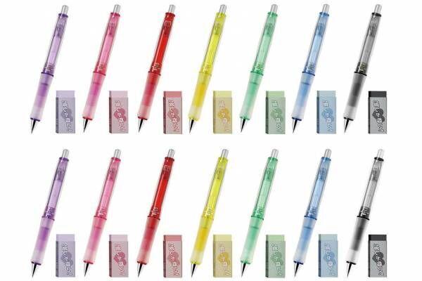 """人気シャープペン「ドクターグリップ」に全7色の""""推し色""""&カラー消しゴムもセットに"""