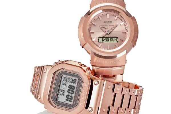 """G-SHOCK""""ローズゴールド""""のフルメタル腕時計、""""金属の塊""""から削りだしたような質感に"""