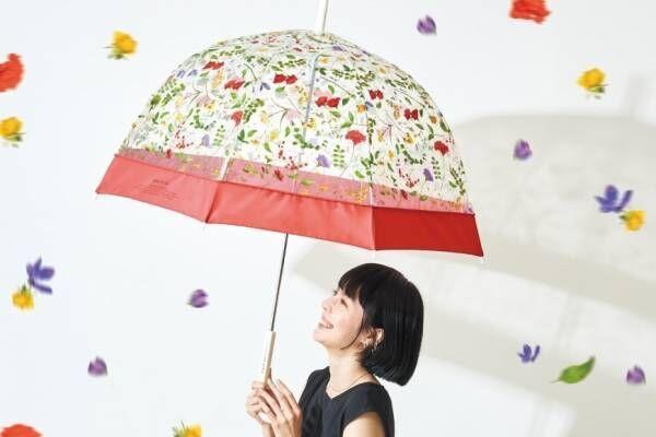 "Wpc.""花々が宙を舞う""ビニール傘に新作、カラフルフラワーを散りばめたドーム型"