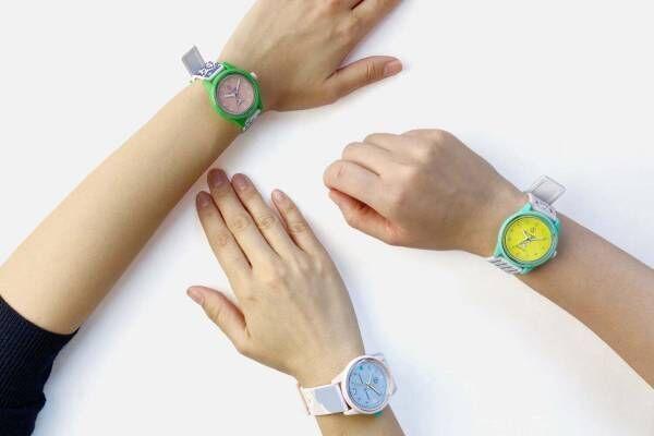 """Q&Q スマイルソーラー + パピエ ティグルのコラボ腕時計、""""トラ""""ロゴやパステル迷彩柄のストラップ"""
