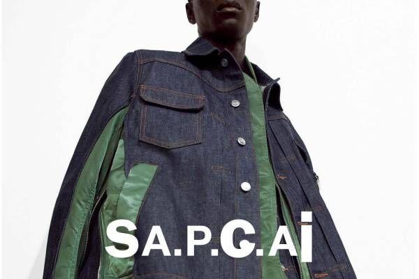 A.P.C.×sacaiのデニムジャケットやロゴフーディ、フリンジ付き白スニーカーなど