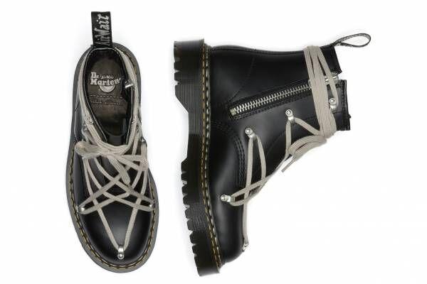 ドクターマーチン×リック・オウエンス「1460」ブーツ、張り巡らせたシューレース&チャンキーソール