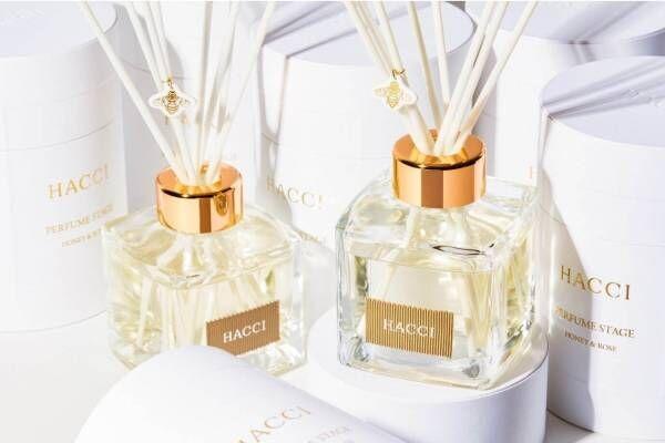 """HACCI""""はちみつ&ローズ""""香るルームフレグランス、みつばちチャーム付きディフューザー"""