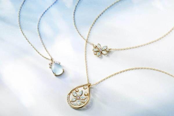 """4℃""""青の森""""イメージの透明感ジュエリー、幸せの花""""ブルースター""""イメージの限定ネックレス"""