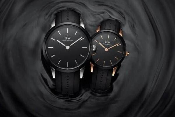 ダニエル・ウェリントン初の防水腕時計、黒を基調にローズゴールド&シルバーで