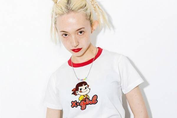 X-girl×ペコちゃんのコラボコレクション、ダブルネームTシャツや商品パッケージ風ポーチ