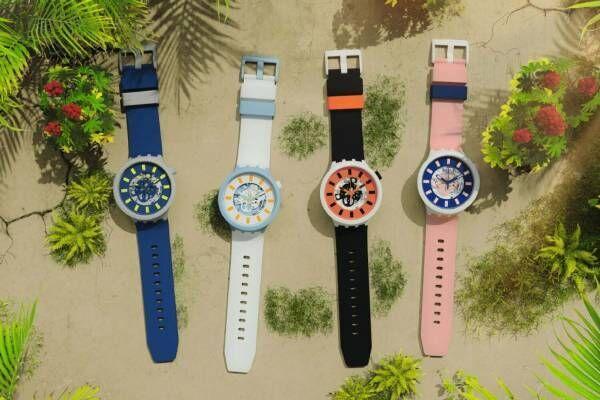 スウォッチの腕時計「ビッグボールド バイオセラミック」マルチカラーの新作、軽量かつシルキーな肌触り