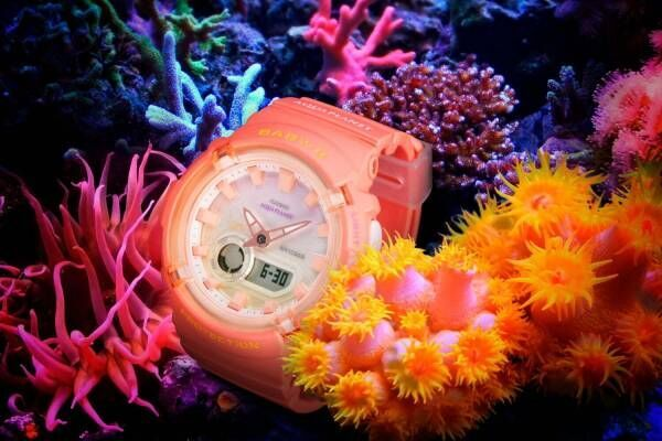 "BABY-G""サンゴ""モチーフの新作腕時計、コーラルオレンジのケース&グラデーション文字板"