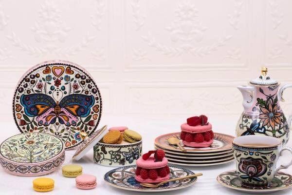 """ラデュレ""""生命の樹""""を表現した食器や蝶&草花モチーフのマカロンボックス、ラ・ダブル・ジェイとコラボ"""