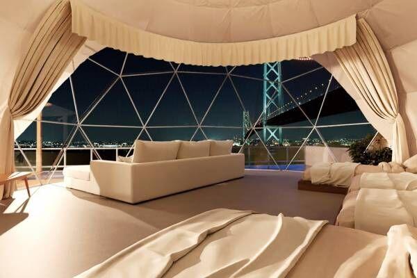 日本初の屋上ドーム型グランピング施設「淡路島グランピングビーチヴィラ漣」明石海峡大橋の夜景を独占