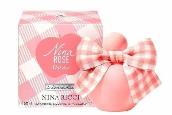 ニナ リッチ限定香水「ニナ ローズ ガーデン」リボン付きアップル型ボトル、グリーンフローラルの香り