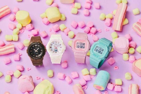 """BABY-G""""アイスクリーム""""着想の腕時計、質感までチョコミントのつぶつぶケース"""