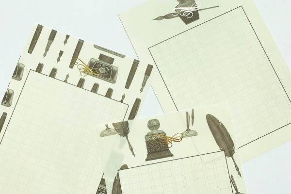 銀座 蔦屋書店オリジナル原稿用紙「私たちの筆記具」満寿屋クリーム紙にレトロな羽ペンやインク瓶を描いて
