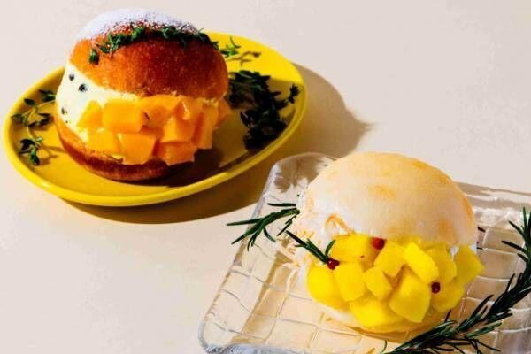 「夏のマリトッツォ」ごろごろマンゴー&パインにたっぷり生クリーム、ジージーコー都内4店舗で