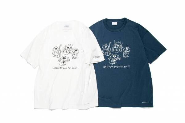 """フジロックフェスティバル'21×コロンビア""""長場雄のイラスト""""入りTシャツ、「猫バンド」デザイン"""