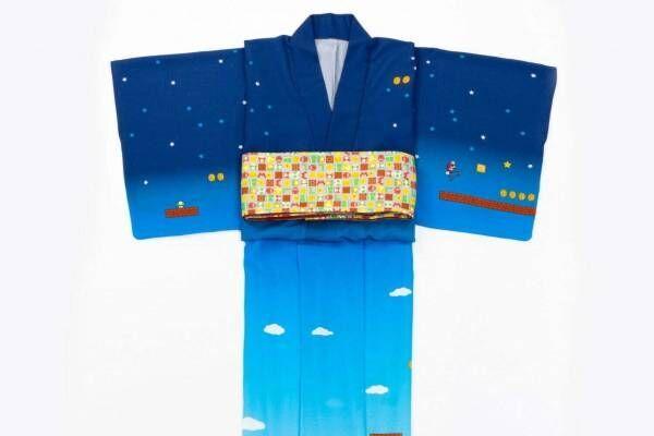 「スーパーマリオ柄」ゆかた&帯、スーパースター×市松模様の和服がキモノ バイ ナデシコから