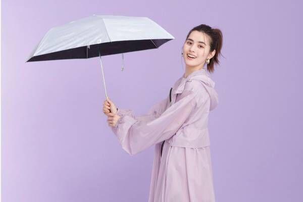 Wpc.×ナノ・ユニバースのレイングッズ、パステルカラーのモッズコート&晴雨兼用折りたたみ傘