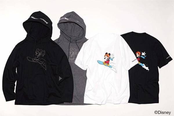 ホワイトマウンテニアリングのディズニーTシャツ&フーディー、スノーボードを楽しむミッキーが主役