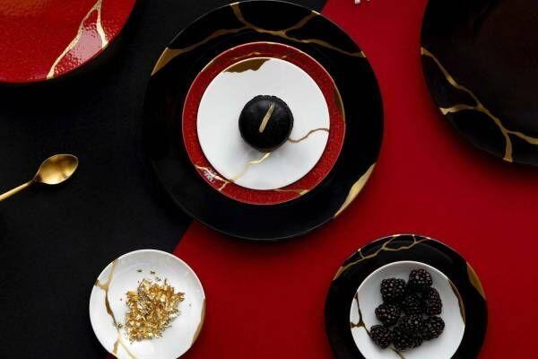 """""""金継ぎ""""に着想を得たベルナルドのリモージュ磁器「キンツギ」""""皇帝の赤&炭の黒""""新作テーブルウェア"""