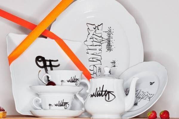 """オフ-ホワイト×ジノリ1735コラボ食器、""""グラフィティアート""""を配したプレートやティーカップ"""