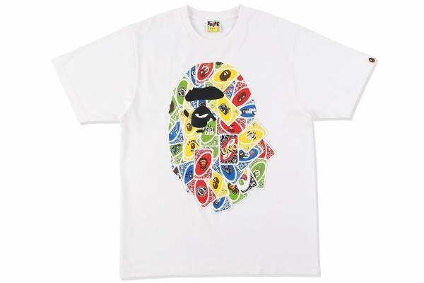 ア ベイシング エイプのコラボデザイン「UNO」カード柄クッション&ロゴ入りTシャツも