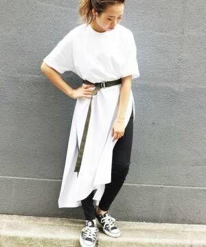 リラックス感を作って気張らないコーデを♪Tシャツ型ワンピースで作る大人女子コーデ特集