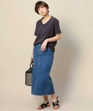 大人女性の「デニムスカート」夏の着こなし術☆タイト&フレアシルエットを取り入れたスタイリング集