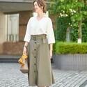 秋まで使えるトレンチスカートに注目♡大人可愛い着こなしをご紹介します♪