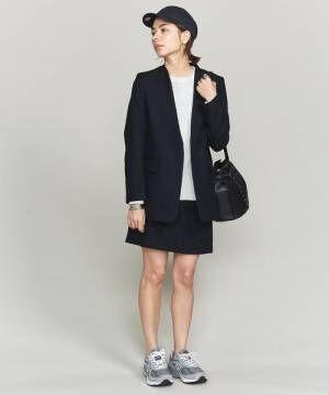 ソリッド&チェックカラーレスジャケット