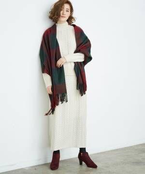 ケーブル編みスカートキナリ