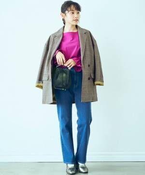 <高橋愛さんコラボ>ラブ&ピースプロジェクト裏地配色がかわいいチェック柄のダブルボタンジャケット