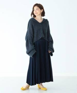 Demi-Luxe BEAMS / ベロア プリーツスカート
