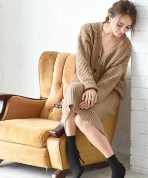 [Luz Llena] [ウール混]ニットカーディガン×タイトスカート・セットアップ