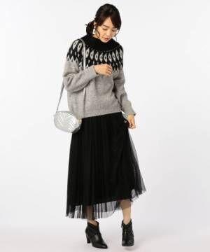 [NOLLEY'S] チュールプリーツロングスカート
