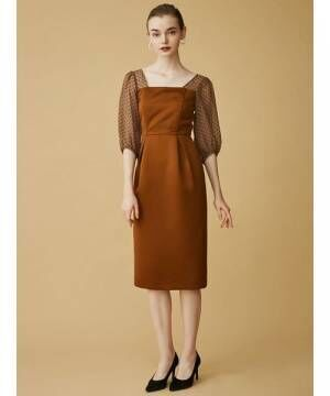 [LAGUNAMOON] LADYシアードットスリーブタイトドレス