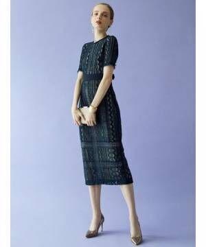 [LAGUNAMOON] LADY ジオメトリックレースドレス