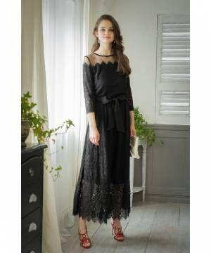[GIRL] 【結婚式・お呼ばれ対応パンツドレス】レース&チュールブラウスとパンツのセットアップ・パーティードレス