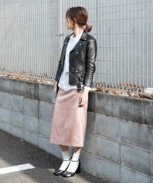 [LANDWARDS] 【WEB限定】【Made in JAPAN】ストレッチスエード タイトスカート《ひざ下丈》