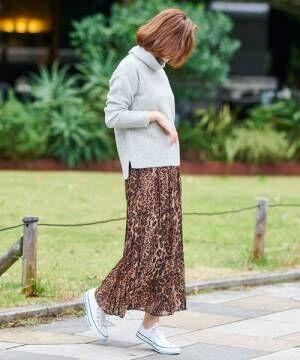 [un dix cors] 【WEB限定】レオパードプリーツスカート