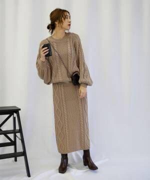 ミックスゲージニットスカート