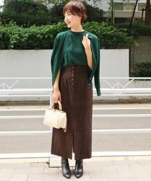 ボタンフライモールタイトスカート